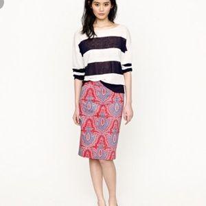 J. Crew Raj paisley No 2 pencil skirt